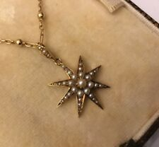 "Antique Edwardian 15k 15ct Gold Seed Pearl Star Necklace,18"" Gold Fancy Chain"