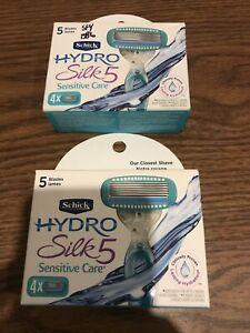 2 Of Hydro Silk Sensitive Care Schick 5 Blades Razor 8 Cartridges Totally