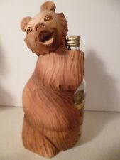 Vodka Loving Carved Wood Russian Bear Vintage Bear Empty Bottle He Drank It All!