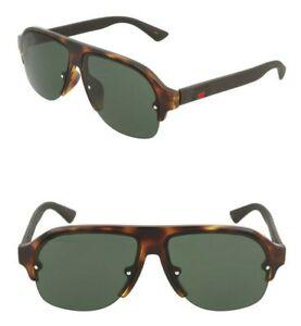 GUCCI GG0172SA 003 60mm Aviator Sunglasses Havana / Black / Green - Italy Made