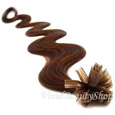 25 U Tip Pre Bonded Fusion Body Wave Wavy Remy Human Hair Extension Medium Brown