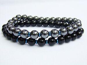 2 MEN'S BRACELETS Elasticated HEMATITE BLACK 8mm beads gemstone stretchable