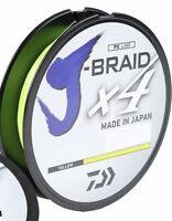 Daiwa J-Braid X4 Braided Fishing Line 300 Yards Fluorescent Yellow Line - Select