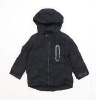 F&F Boys Black Hooded Coat Age 5-6 Years
