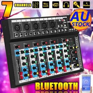 AU Pro bluetooth 7 Channel Live Audio Mixer Sound Mixing DJ USB Power Console