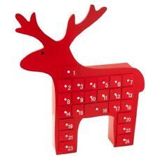 Gisela Graham rouge en bois Renne Noël Calendrier de l'avent décoration