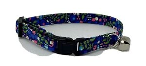 Handmade Liberty Floral Print Cat Collar, Safety Release Buckle, Bell, Charm