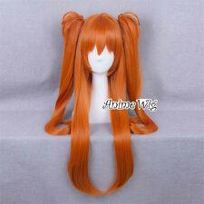 Neon Genesis Evangelion EVA Soryu Asuka 80CM Orange Anime Cosplay Ponytails Wig