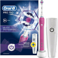 Oral-B Pro 750 3D White Electric Toothbrush Pink Design Edition With Travel Case