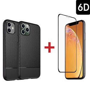 CARBON Hülle Case für iPhone 11 | Pro | Max + 6D FULL COVER Schutz GLAS TPU 9H