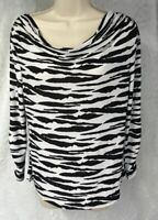 ISABELLA  RODRIGUEZ Top Size S Black White Zebra Striped Draped Neck Career