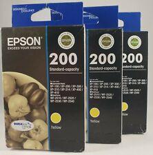 3 X Genuine Epson 200 Yellow Printer Ink Cartridges Expiry 11.2019