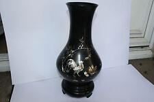 grand Vase laqué noir incrusté de  Nacre Chine Antique Chinese  Vase