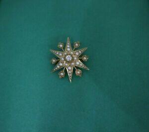 Antique Victorian Scottish 15ct Gold Diamond & Pearl Star Pendant / Brooch