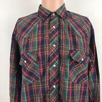 Sears Roebucks Mens Plaid Western Shirt L Vintage 90s Pearl Snap Rodeo