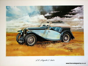 MG N  A Magnette 2-Seater. Vintage Car Print. MG Print.