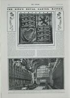 1901 PRINT KING'S ROYAL GARTER BANNER ST GEORGES CHAPEL WINDSOR