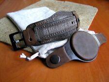 20mm CUFF TRENCH WATCH BAND CANVAS & GENUINE LEATHER wide bund watch strap