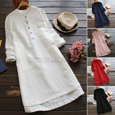 US STOCK Womens Linen Cotton Vintage High Low Button Down Solid Mini Shirt Dress