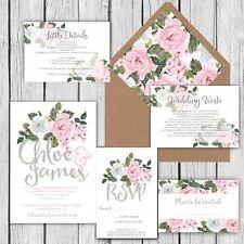 WEDDING INVITATIONS, Personalised Luxury Rustic  GREY & PINK FLORAL packs of 10