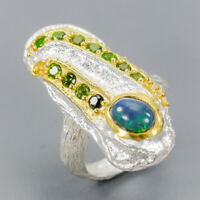 Black Opal Ring Silver 925 Sterling Fine Art Design Jewelry Size 7 /R137831