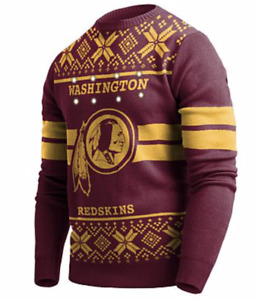Washington REDSKINS NFL Sweater FOCO Mens Light-up Ugly Sweater NWT