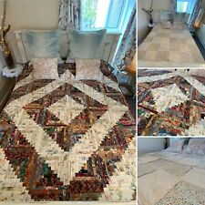 Stunning Handmade Vintage Patchwork Quilt Reversible Double Sided King Size Bed