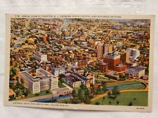 Vtg Linen Postcard Aerial View Of Trenton,  NJ,  State Capitol,  New Jersey