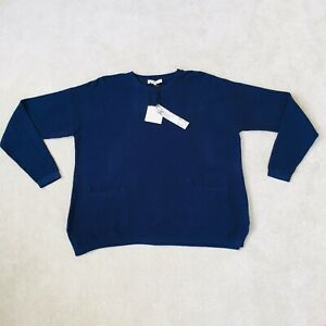 EAST Jumper  New Tags Ink Blue Pure Cotton L 12 14 16 pockets lagenlook S2