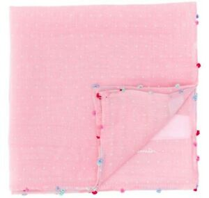 PAUL SMITH Pink Pin Dot Cotton/Silk Blend Pocket Square NEW W/TAGS $95