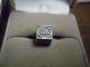 """Sterling Silver 925 Kay Jewelers Ladies """"M"""" Square Cube Charm      2.6 grams"""