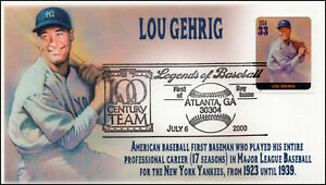 AO 3408T, 2000, Legends of Baseball, FDC, Add On Cachet, Lou Gehrig, SC 3408t