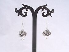 Tibetan Silver Tree Of Life, 925 Sterling Silver Hook Earrings.Handcrafted