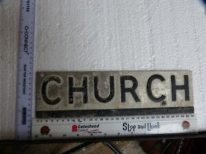 letters CHURCH pressed metal sign name plate initials single letters words