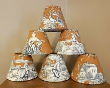 Mini Lampshades for Chandelier; Set of 6 ; Toile Print; New Handmade