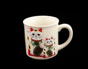 Tasse Becher Manekineko Katze Glücksbringer Japanische Maneki Neko Made IN Japan