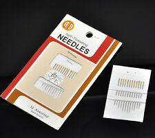 12 Self Threading Hand Sewing Needles  (1 Packet)  - -  UK Seller