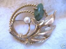 & Pearl Flower Pin/Brooch Sarah Coventry Authentic Jade