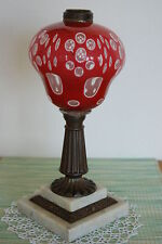 SANDWICH ANTIQUE OLD VINTAGE OIL KEROSENE PARLOR BANQUET PIANO OVERLAY GWTW LAMP