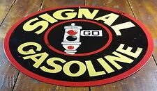 "SIGNAL GASOLINE STOP LIGHT LOGO GAS STATION 14"" ROUND METAL ADVERTISING SIGN"