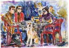 "A557-ORIGINAL WATERCOLOR PAINTING, ""Hang out"", Gift Idea"