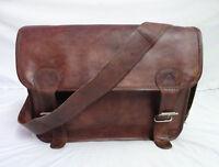 """18"""" Vintage Leather Messenger Bag Laptop Satchel Crossbody Shoulder School Bag"""