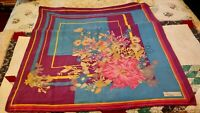 "Vintage Vittorio Cesti 100% Silk Scarf Floral Made In Italy 32"" Sq Hand Rolled"