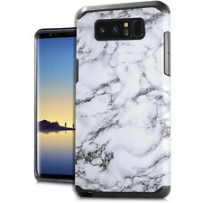 For Samsung Galaxy Note 8 - Hard Hybrid Impact Armor White Glossy Marble Pattern