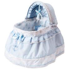 """Reborn Baby Puppen Himmelbett""""Carol""""Puppenbett mit Roll Rädern blau"""
