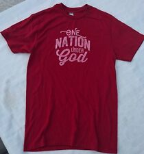"Ladies Christian T-Shirt Small ""One Nation Under God"" Red Shirt Testimonial Top"