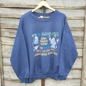 Vintage Bowling Print Oversized Sweatshirt. Made In Canada