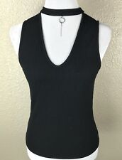 Mango Women's XS Top Deep V Front With Necklace Collar Silver Dangle Black