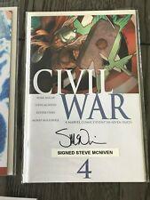 CIVIL WAR 1 2 3 4 5 6 7 SIGNED BY STEVE MCNIVEN + COLOR THOR COVER TURNER