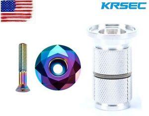 """KRSEC Headsets Expander&Top Cap Plug MTB Bike Stem/Fork Top Cover 1-1/8"""" 1 Set"""